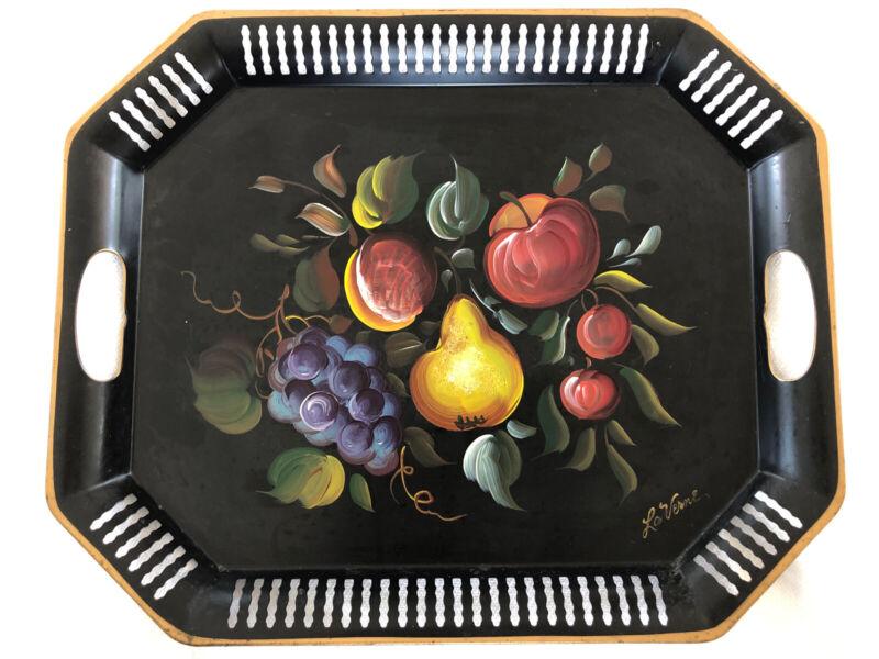 Vintage Nashco La Verne Toleware Black Metal Tray Hand Painted Fruit Lattice
