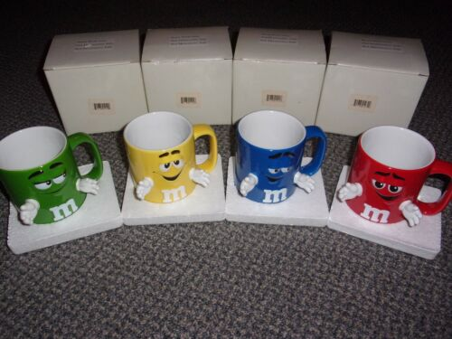 M&M - SET OF 4 MUGS WITH HANDS NEW IN BOX - FREE SHIP
