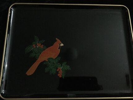 Vintage black lacquareware tray