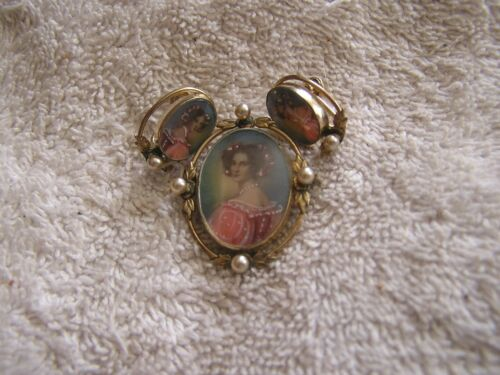 Antique Art Deco Nouveau Hand Painted Cameo and Earrings 10K Gold Filled