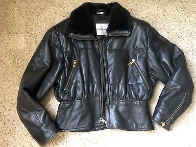 Andrew Marc leather black women's warm bomber motorcycle insulated jacket S
