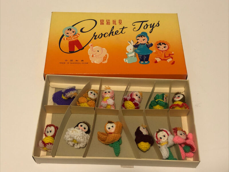 VINTAGE Dozen 12 CROCHET DOLLS Toys in Original Box Shanghai China AMIGURIMI