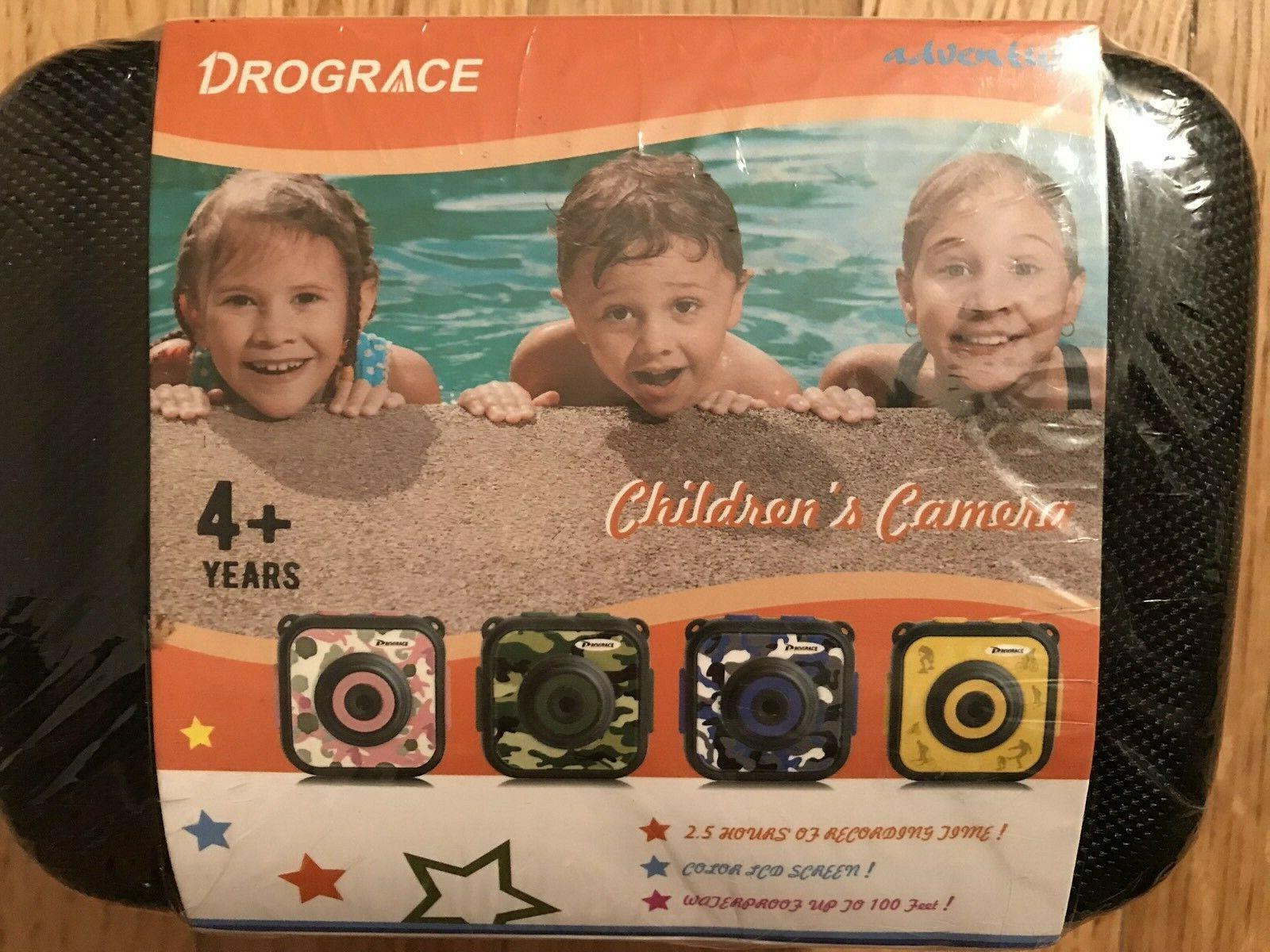 DROGRACE Children Kids Camera Waterproof Digital Video HD Ac