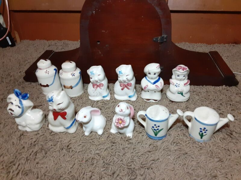 12 piece shawnee & misc salt and pepper shakers puss n boots mugsy milk can