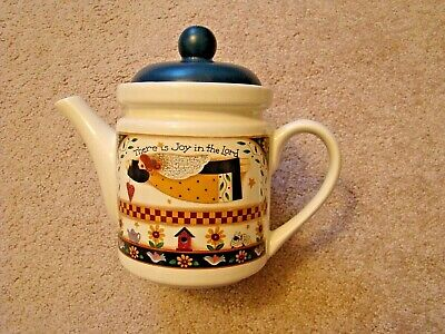 Joy Stoneware - Tea or Coffee Pot Stoneware With Lid There is Joy in the Lord Country Theme VG