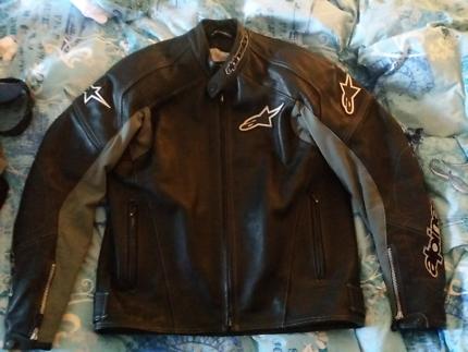 Alpinestars Black/Grey Leather Jacket XL