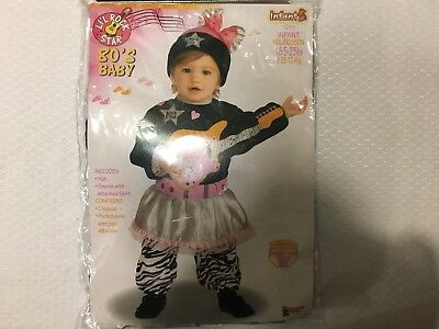 Li'l Rock Star 80s baby, easy opening for diaper change, infant 18.8-23lbs - Easy 80s Costume