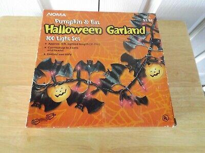 Unused Noma Halloween Garland Jack O Lantern Bat Purple Orange 100 Light set