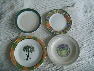 LOT of FOUR(4) Mismatched Dessert Plates/Hunter Green Accents GIBSON ALCO Nice!! Hunter Green Teller