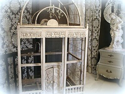 Oversized vintage bird cage wood and wire Chippy White Paint Needs Minor Repair