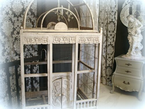 Vintage Victorian Style Bird Cage Oversized!!! White Wood + Wire Needs Repairs