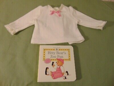 American girl Bitty Baby Retired Zoo Keeper Wild things TOP and Book 2pc Lot -