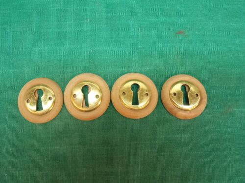 """4 Wood wooden 1 1/4"""" key hole cover plate w/brass escutcheon. Furniture drawer"""