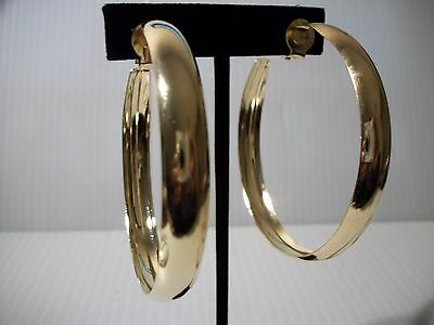 "2.25"" gold thick rim hoops clip on earrings non pierced"
