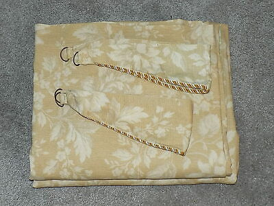 """SOFT GOLD  WITH SUBTLE PRINT FULLY LINED CURTAINS 2 TIE BACKS SIZE 64"""" W X 54"""" L"""
