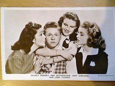 Vintage 1930s Picturegoer POSTCARD Mickey Rooney,Ann Rutherford,Judy,Lana Turner