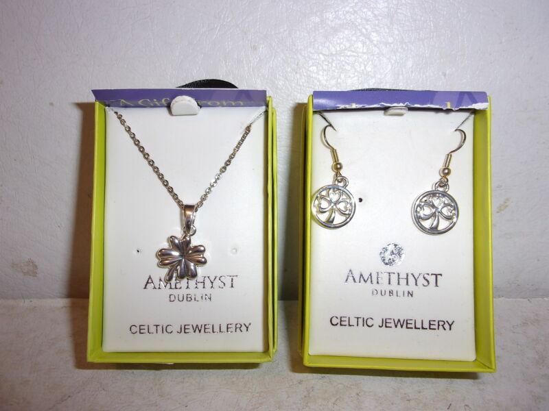 Amethyst Dublin Celtic Shamrock Earrings and Necklace - Irish Ireland