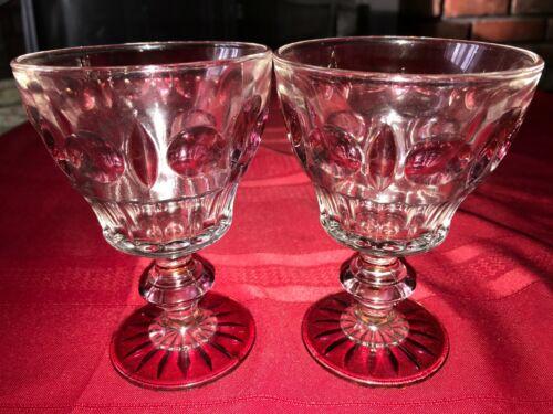 "2 VTG Duncan Miller Ruby Flash Water Goblet Wine Glass Plaza Oval Circle 7oz 5¼"""