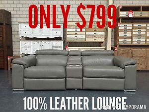 ROSS - ITALIAN LEATHER - 2 SEAT + CONSOLE Leumeah Campbelltown Area Preview