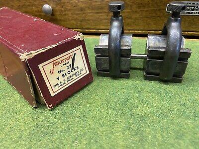 Nos Matching Vintage Starrett 271 Vee V Blocks Clamps Alignment Rod In Box