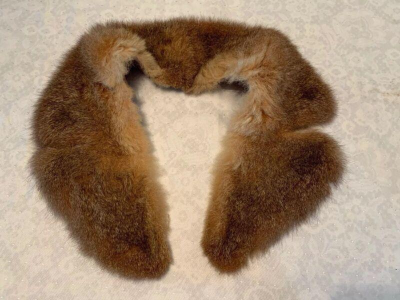 "Vintage Hand Sew FUR COLLAR Mink Fox Fur 30"" long"