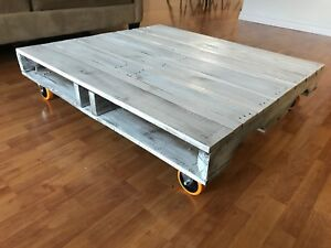 Reclaimed pallet coffee table white washed.