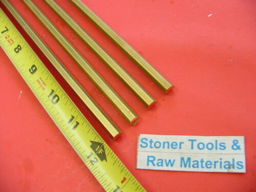 "4 Pieces 5/16"" C360 BRASS HEX BAR 12"" long New Lathe Bar Stock .312"" 1/2 Hard"