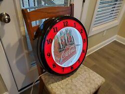 Coca-Cola Neon wall Clock 20  Excellent Condition USA Made Vintage Advertising