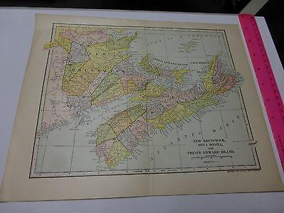 1903 Map New Brunswick, Nova Scotia & Prince Edward Island- FREE SHIPPING