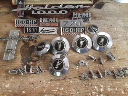 Vintage Valiant, Holden, morris car badges and others