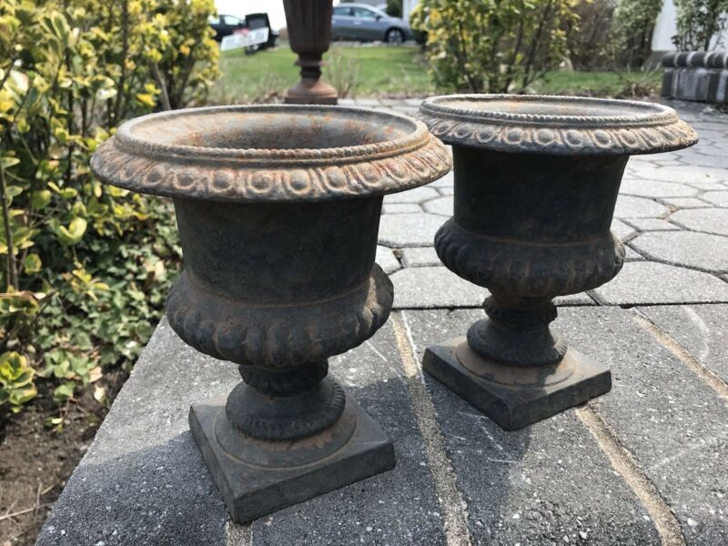 Stunning Pair Vintage Antique Cast Iron Garden Planters Urns  Great Colors