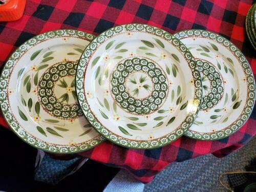 """3 DINNER PLATES 10.5 """" TEMPTATIONS BY TARA OLD WORLD GREEN"""