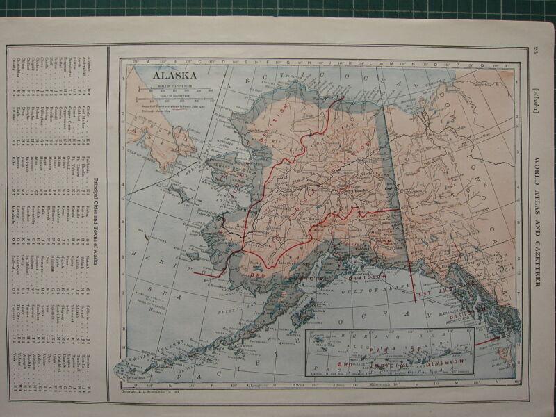 1926 MAP ~ ALASKA PRINCIPAL CITIES & TOWNS CHISNA CORWIN IGLOO UNGA