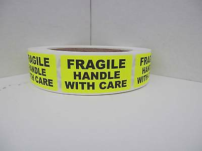 Fragile Handle With Care Warning Stickers Labels Fluorescent Chartreuse 250rl