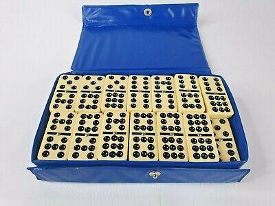 Plastic Double Nine Dominoes Black Spots Spinners In Case