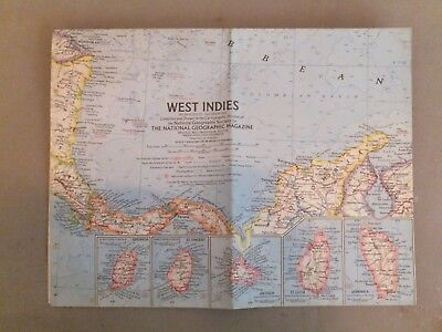 VINTAGE NATIONAL GEOGRAPHIC MAP   WEST INDIES