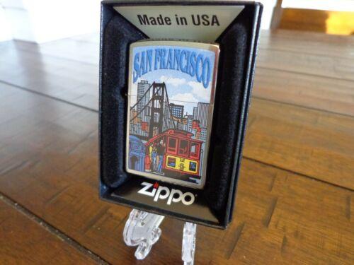 SAN FRANCISCO TROLLEY GOLDEN GATE BRIDGE DOWNTOWN ZIPPO LIGHTER MINT IN BOX