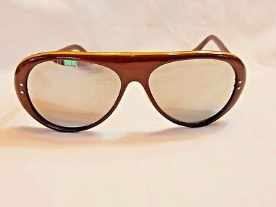 EUC Aviator Shaped Brown Citron Sunglasses Retro 60'S 70'S MOD