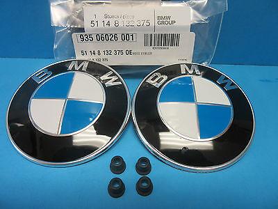 "2 X GENUINE BMW Hood & Trunk Emblem Roundel OEM # 51148132375 W. Grommets 3.25"""