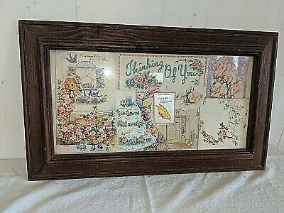 ANTIQUE VICTORIAN FRAMED COLLAGE BIRTHDAY GIFT GREETING CARDS Flowers Birds
