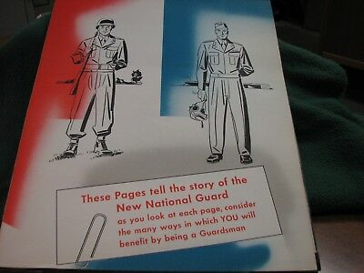 Vintage 1940's U.S.Military The NEW NATIONAL GUARD  Recruitment Folder  RARE !