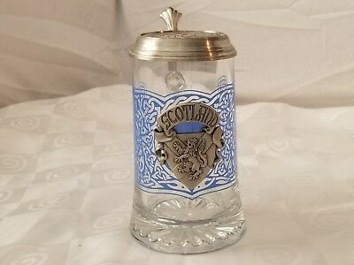 German Glass Stein Scotland Pewter Lid Scottish Crest Italian Blank