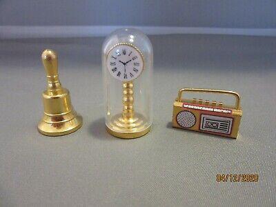 Miniature brass doll house furniture Mantle Clock, Bell & Radio