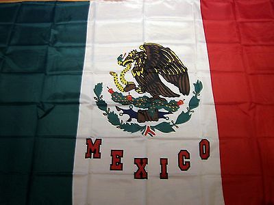 "Mega Mexican Flag 4'10"" X 7'10"" Polyester Clear Bandera sharp color HIGH QUALITY"