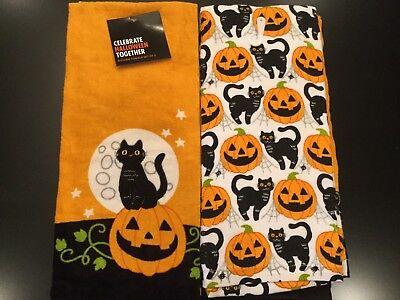 Set Of 2 Halloween Cat Moon Stars Cotton Terry Kitchen Dish or Hand Tea Towels](Halloween Tea Towels)