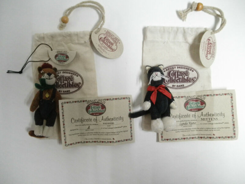 Mittens & Whiskers Cats Ganz Cottage Collectibles Miniatures with Bags & Papers