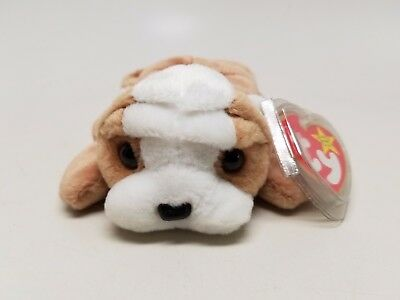 Ty Beanie Baby Original Wrinkles The Dog New/Clean w/ Tags