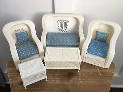 Vintage Barbie Doll Dream House White Wicker Furniture Set With Cushions 1983