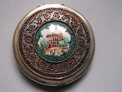 Sehr alte, anspruchsvolle Puderdose,möglicherw. aus Ungarn,filigran mit Malerei