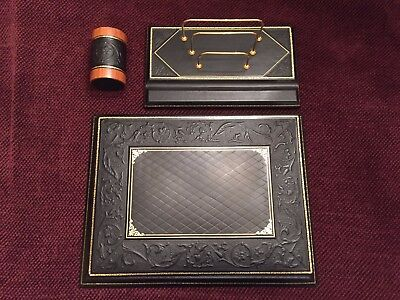 Luxury Bontrupe Carved Genuine Leather 24k Gold Gilded 3 Pc Desk Blotter Set
